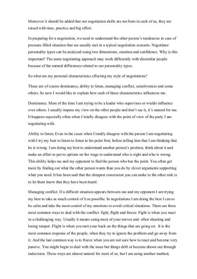 real life negotiation essay
