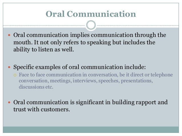 exmaples of how to start oral