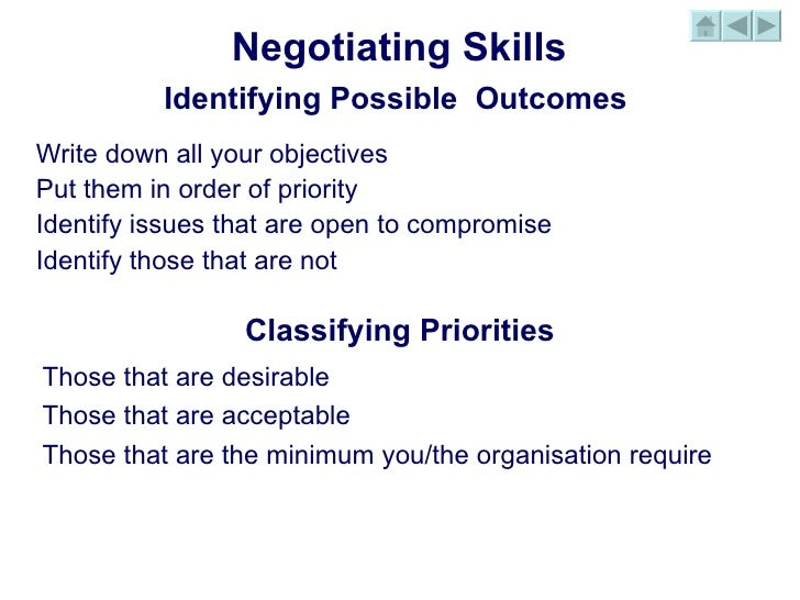 Write an explanatory note on negotiation skills