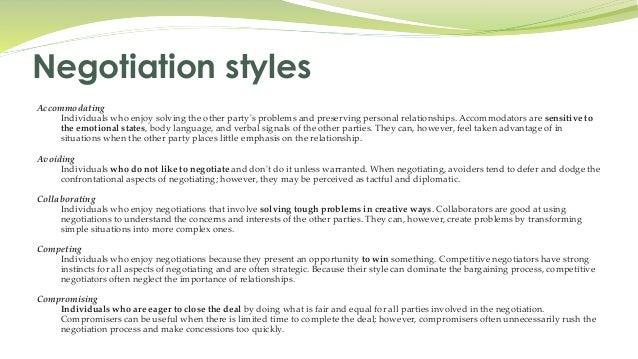 Accommodating style of negotiation training