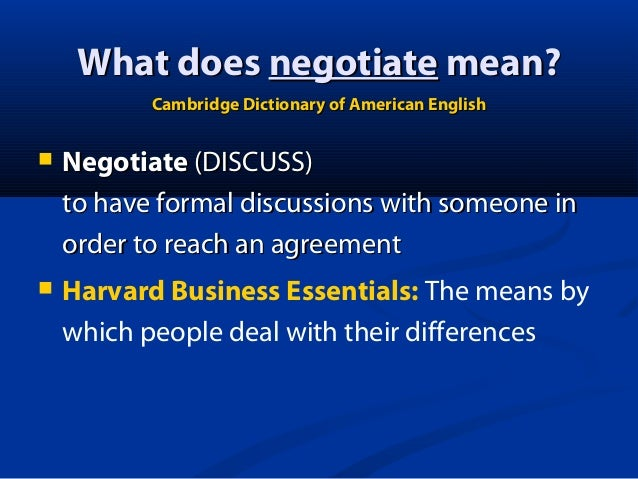 Concepts of negotiation