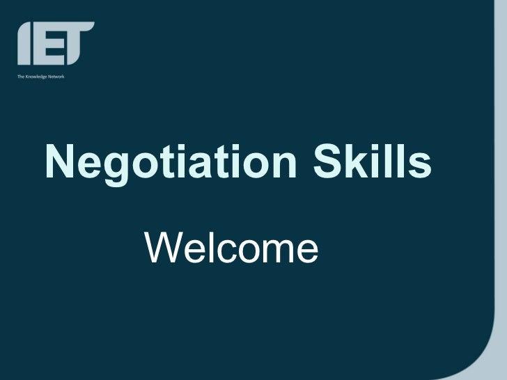 Negotiation Skills Welcome