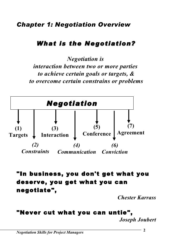negotiation skills for project managers Negotiation & conflict resolution skills for project management chapter 7 / lesson 12  also known as win-win negotiations most project managers look to use collaborative negotiations, as it.