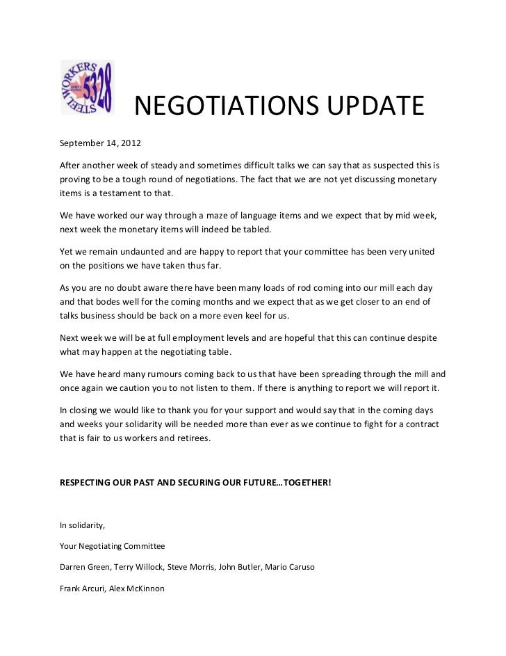 NEGOTIATIONS UPDATESeptember 14, 2012After another week of steady and sometimes difficult talks we can say that as suspect...
