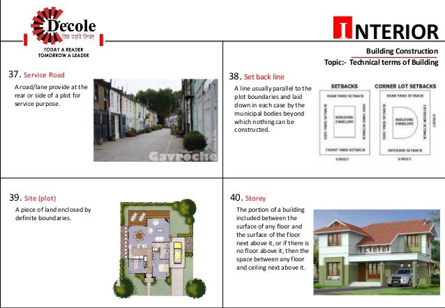 Plinth 11 NTERIORI Building Construction Topic Technical Terms