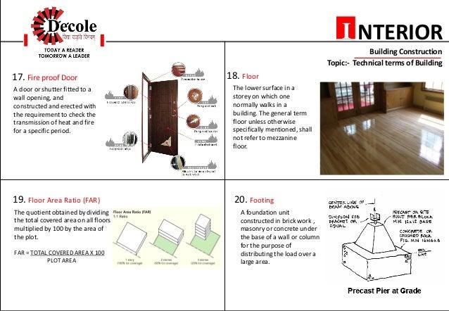 Exit 6 NTERIORI Building Construction Topic Technical Terms