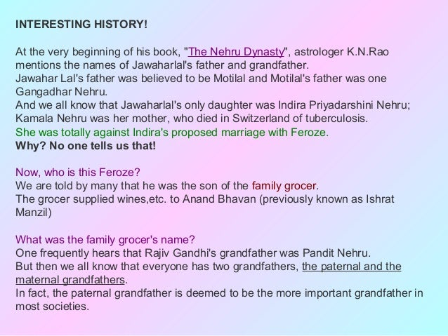 """INTERESTING HISTORY!At the very beginning of his book, """"The Nehru Dynasty"""", astrologer K.N.Raomentions the names of Jawaha..."""