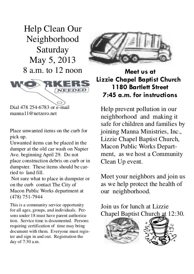 neighborhood clean up flyer may4 2013residents