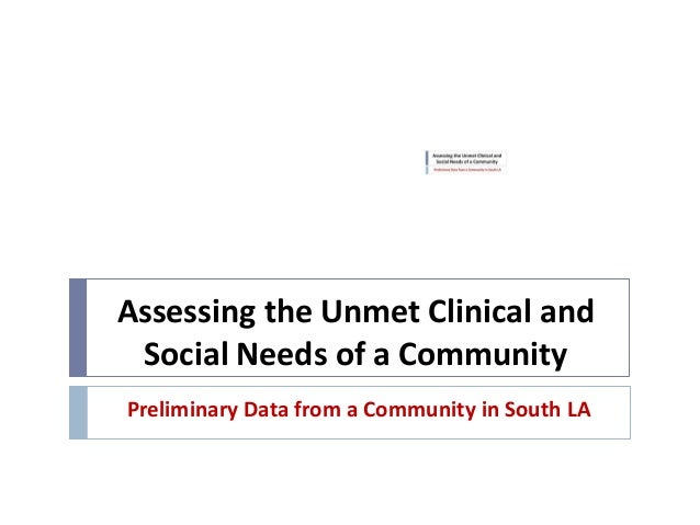Assessing the Unmet Clinical and Social Needs of a CommunityPreliminary Data from a Community in South LA