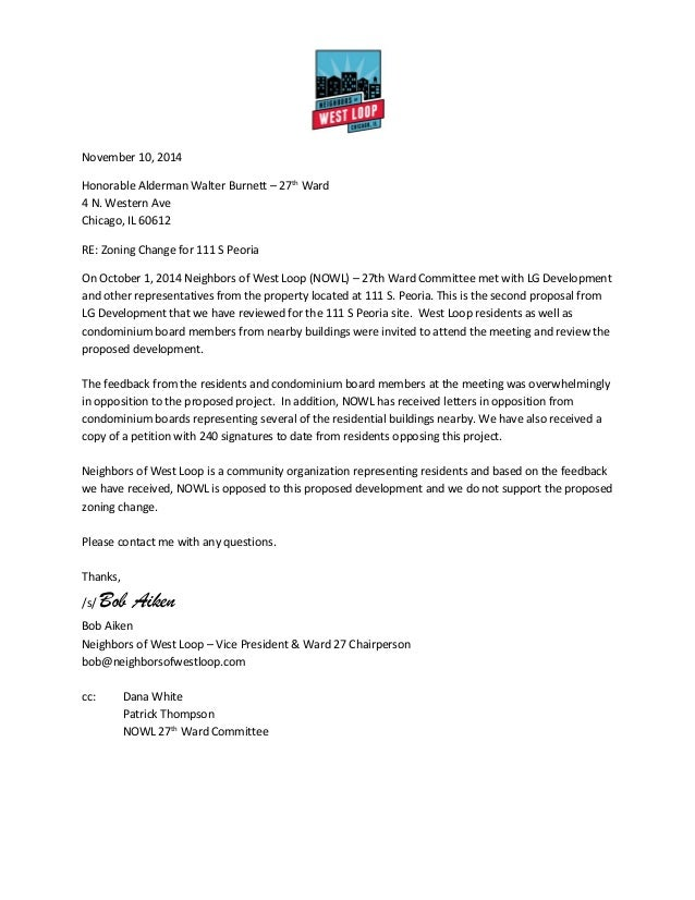 Neighbors Of West Loop: 111 S. Peoria Proposal Response Letter