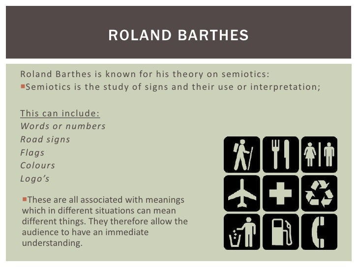 ROLAND BARTHESRoland Barthes is known for his theory on semiotics:Semiotics is the study of signs and their use or interp...