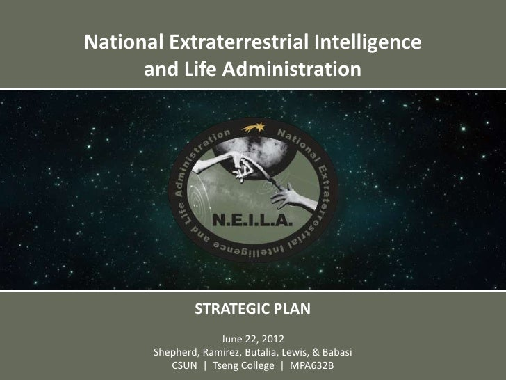 National Extraterrestrial Intelligence      and Life Administration               STRATEGIC PLAN                    June 2...