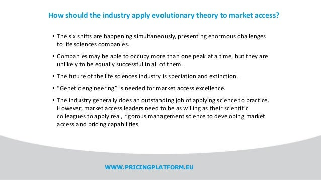 How should the industry apply evolutionary theory to market access? • The six shifts are happening simultaneously, present...