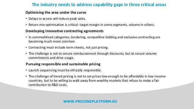 The industry needs to address capability gaps in three critical areas WWW.PRICINGPLATFORM.EU Optimising the area under the...