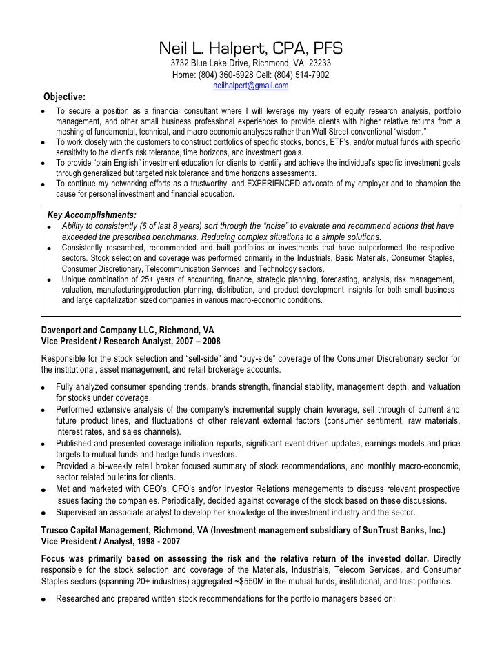 Mutual fund analyst resume