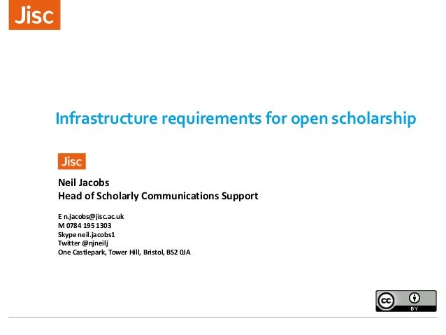 Infrastructure requirements for open scholarship Neil Jacobs Head of Scholarly Communications Support E n.jacobs@jisc.ac.u...