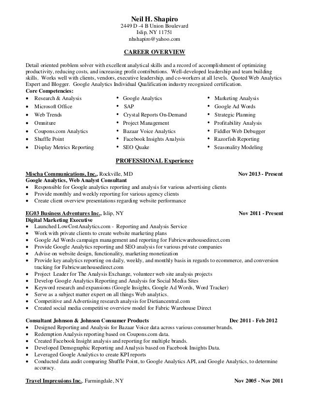 Digital Analytics Manager Resume