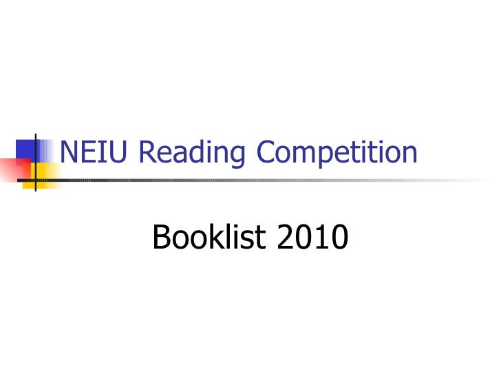 NEIU Reading Competition Booklist 2010