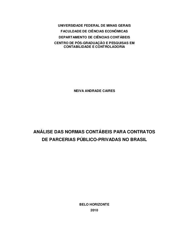 UNIVERSIDADE FEDERAL DE MINAS GERAIS          FACULDADE DE CIÊNCIAS ECONÔMICAS         DEPARTAMENTO DE CIÊNCIAS CONTÁBEIS ...