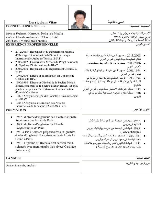 Curriculum Vitae DONNEES PERSONNELLES Nom et Prénom : Harrouch Nejla née Moalla Date et Lieu de Naissance : 23 avril 1963 ...