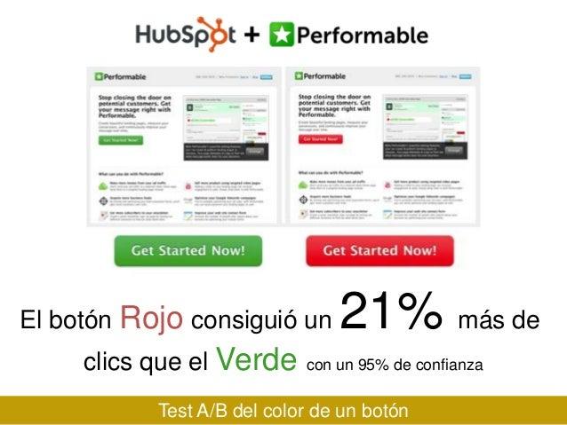El botón Rojo consiguió un clics que el Verde  21% más de  con un 95% de confianza  Test A/B del color de un botón