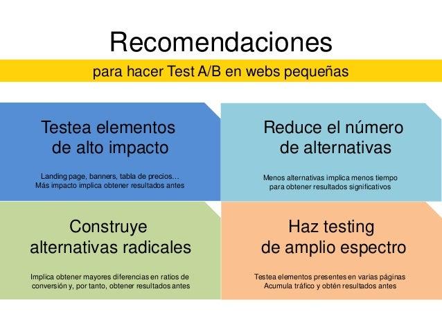 Recomendaciones para hacer Test A/B en webs pequeñas  Testea elementos de alto impacto Landing page, banners, tabla de pre...