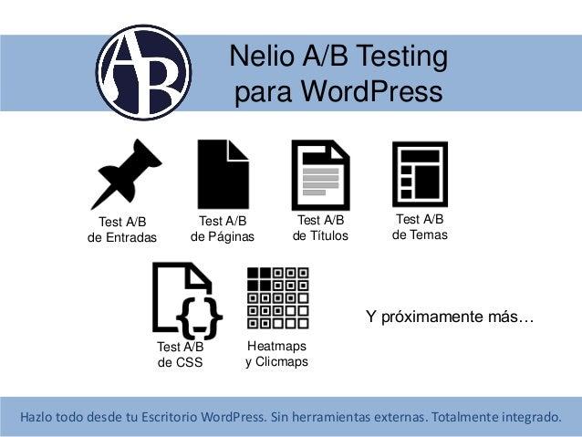 Nelio A/B Testing para WordPress  Test A/B de Entradas  Test A/B de Páginas  Test A/B de Títulos  Test A/B de Temas  Y pró...