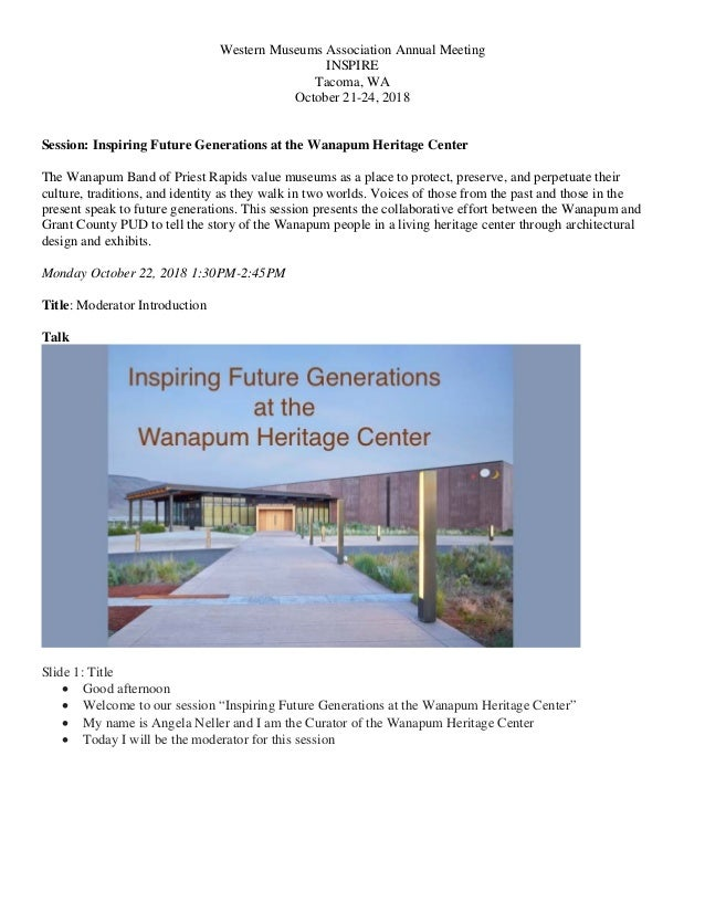 Western Museums Association Annual Meeting INSPIRE Tacoma, WA October 21-24, 2018 Session: Inspiring Future Generations at...