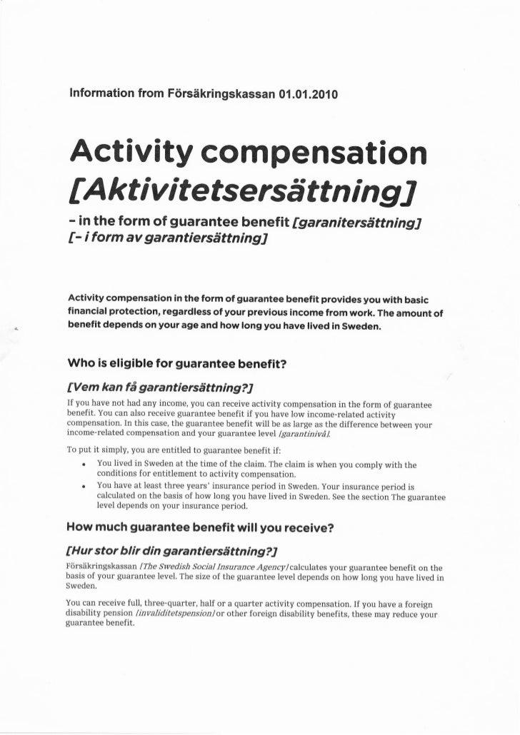 lnformation from Ftirsiikringskassan 0i.0i.201 0     Activity compensation    tA kt i v i tefsersd tt n i n g J    - in th...