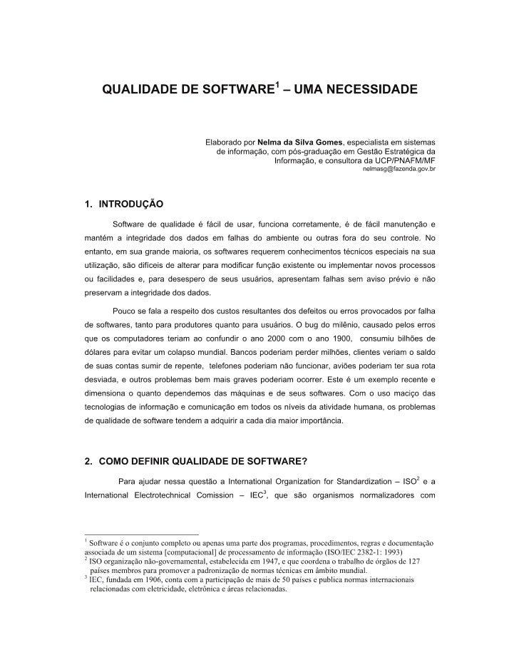 Qualidade de Software: uma necessidade