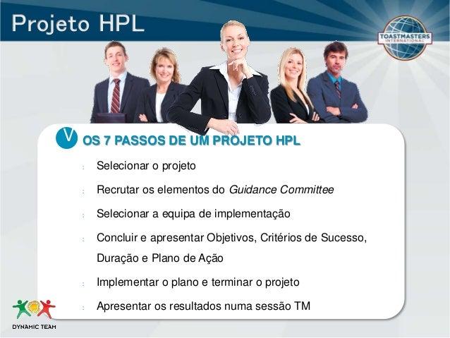 V OS 7 PASSOS DE UM PROJETO HPL : Selecionar o projeto : Recrutar os elementos do Guidance Committee : Selecionar a equipa...