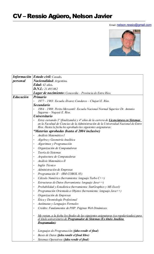 Excepcional Ejemplos De Curriculum Vitae Plc Programador Imágenes ...