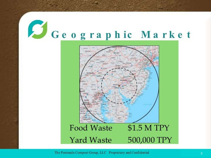 Geographic Market COMPOST FACILITY The Peninsula Compost Group, LLC  Proprietary and Confidential Food Waste $1.5 M TPY Ya...