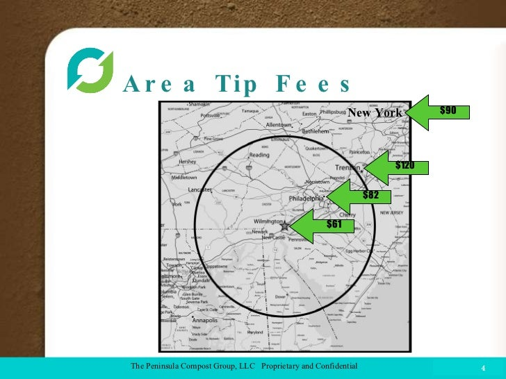 Area Tip Fees  COMPOST FACILITY The Peninsula Compost Group, LLC  Proprietary and Confidential $82 $61 $120 $90 New York