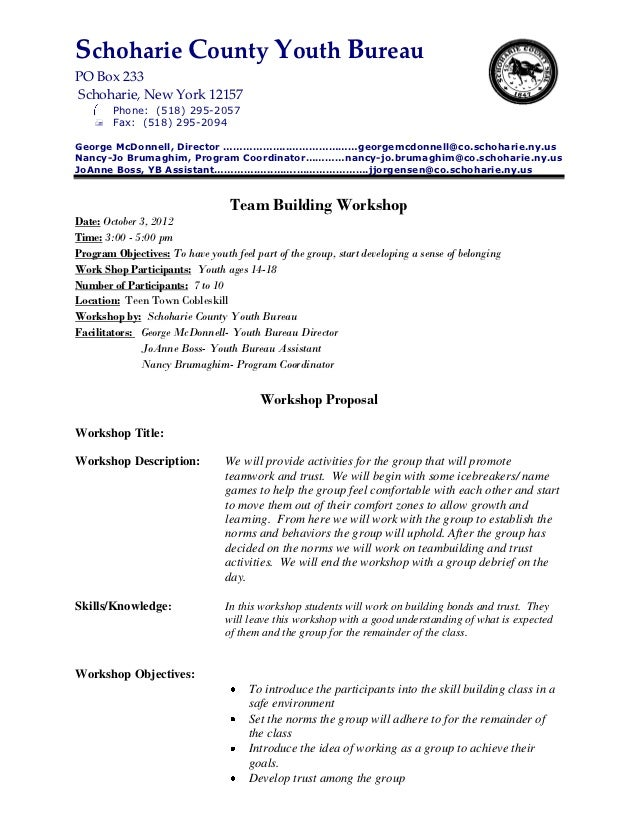 Awesome Life Skills Class Team Building Proposal. Schoharie County Youth BureauPO  Box 233Schoharie, New York 12157 Phone: (518) 295 ... Intended For Building Proposal Sample