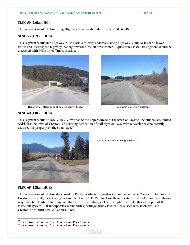 Nelway BC to Yahk Trans Canada Trail Route Assessment Report