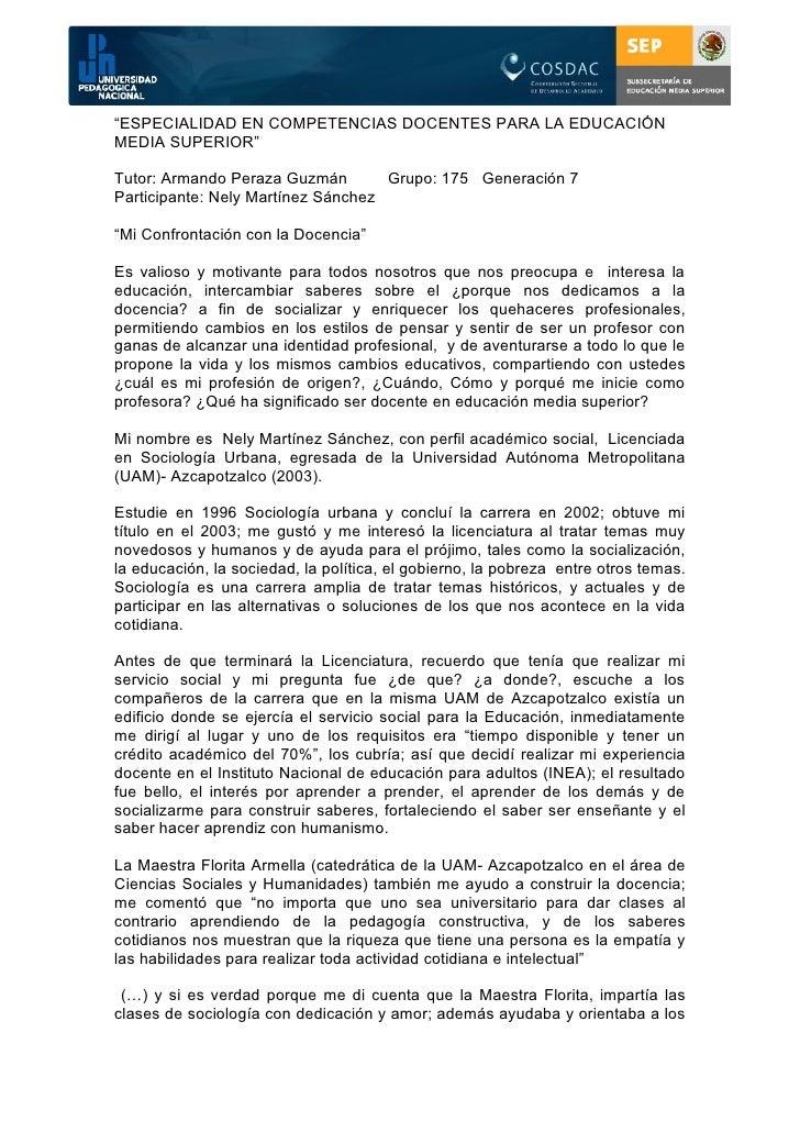 """""""ESPECIALIDAD EN COMPETENCIAS DOCENTES PARA LA EDUCACIÓNMEDIA SUPERIOR""""Tutor: Armando Peraza Guzmán        Grupo: 175 Gene..."""