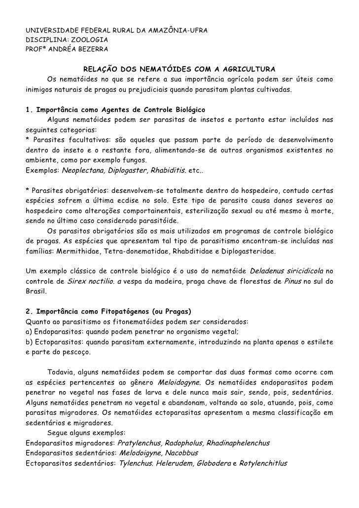 UNIVERSIDADE FEDERAL RURAL DA AMAZÔNIA-UFRADISCIPLINA: ZOOLOGIAPROFª ANDRÉA BEZERRA                  RELAÇÃO DOS NEMATÓIDE...