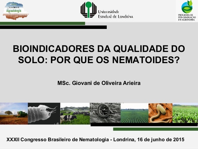 XXXII Congresso Brasileiro de Nematologia - Londrina, 16 de junho de 2015 BIOINDICADORES DA QUALIDADE DO SOLO: POR QUE OS ...