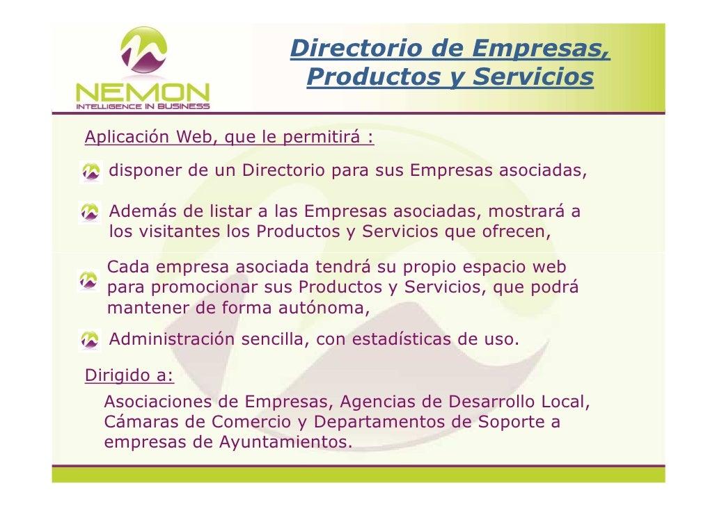 Nemon  Directorio de empresas , productos y servicios Slide 2