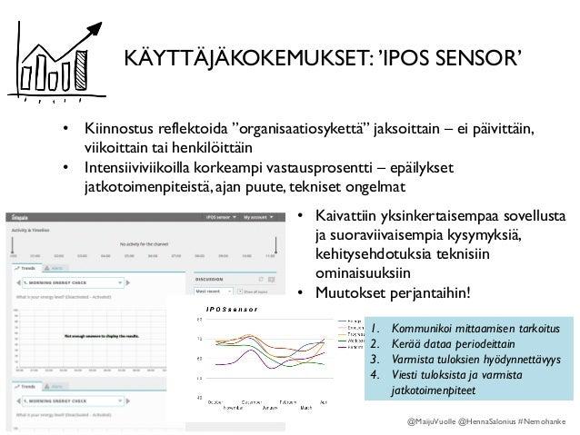 """KÄYTTÄJÄKOKEMUKSET: 'IPOS SENSOR' • Kiinnostus reflektoida """"organisaatiosykettä"""" jaksoittain – ei päivittäin, viikoittain ..."""