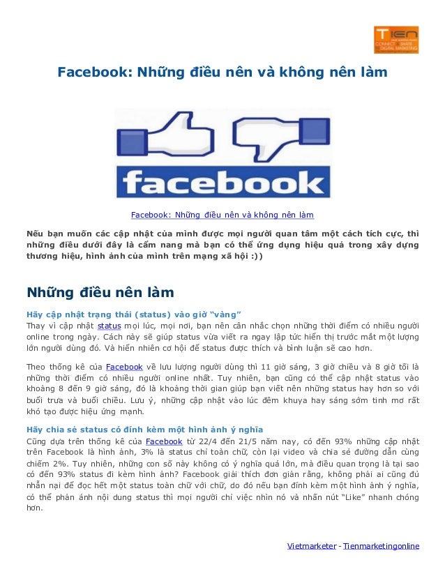 Facebook: Những điều nên và không nên làm  Facebook: Những điều nên và không nên làm Nếu bạn muốn các cập nhật của mình đư...