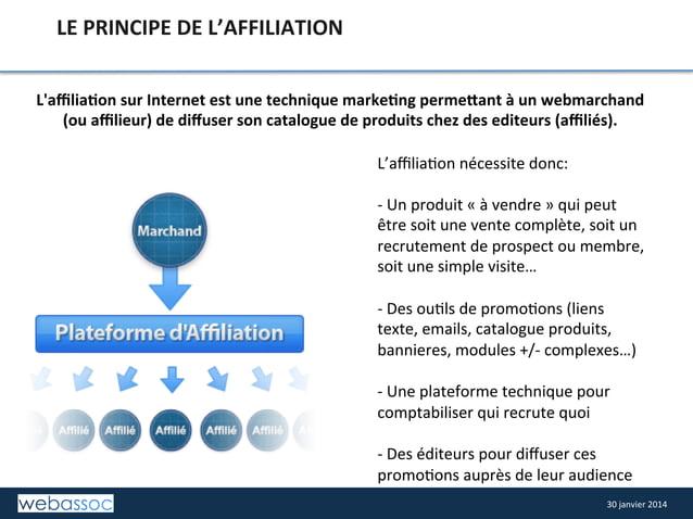 LE  PRINCIPE  DE  L'AFFILIATION   L'affilia4on  sur  Internet  est  une  technique  marke4ng  permeCan...