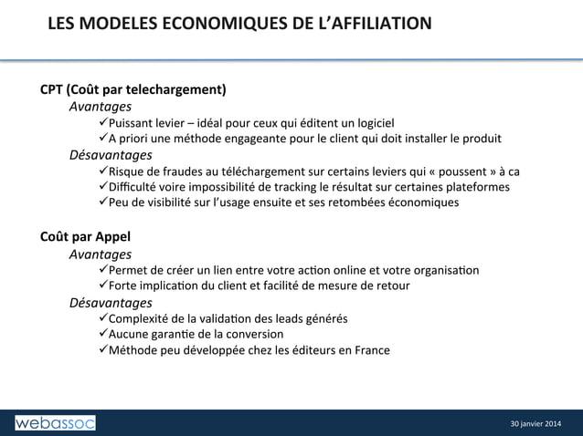 LES  MODELES  ECONOMIQUES  DE  L'AFFILIATION   CPT  (Coût  par  telechargement)   Avantages    üPuis...