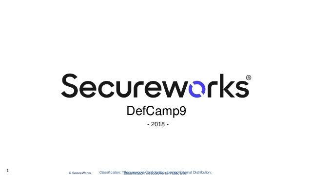 Classification: //Secureworks/Public Use:© SecureWorks, Classification: //Secureworks/Confidential - Limited External Dist...