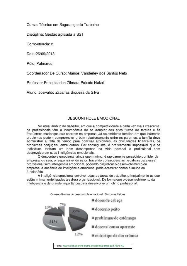 Fonte: www.upf.br/seer/index.php/ser/article/download/1760/1169 Curso: Técnico em Segurança do Trabalho Disciplina: Gestã...