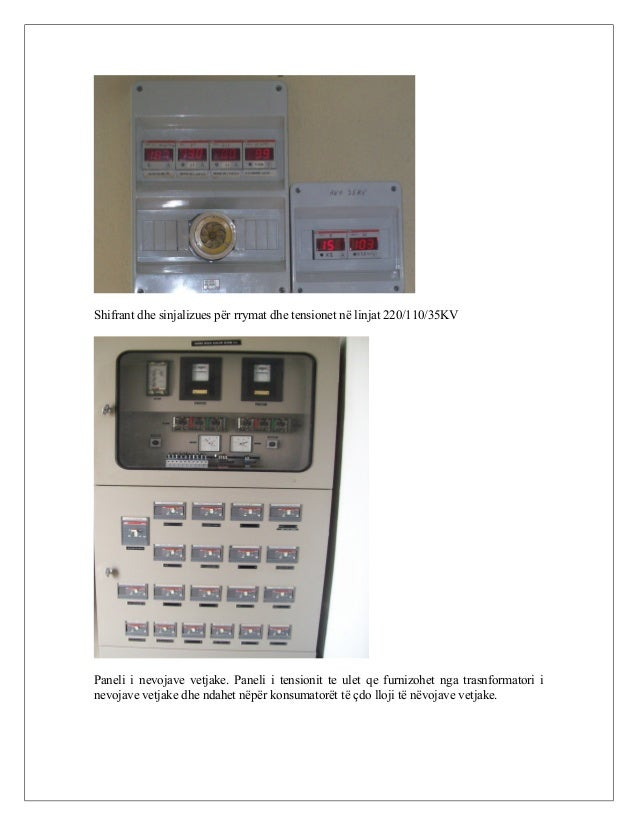 Shifrant dhe sinjalizues për rrymat dhe tensionet në linjat 220/110/35KV Paneli i nevojave vetjake. Paneli i tensionit te ...