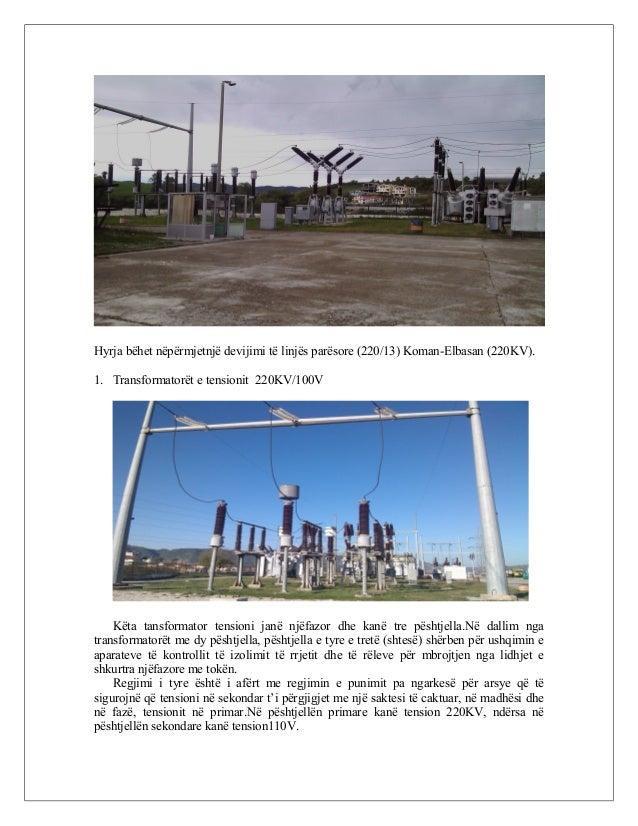 Hyrja bëhet nëpërmjetnjë devijimi të linjës parësore (220/13) Koman-Elbasan (220KV). 1. Transformatorët e tensionit 220KV/...