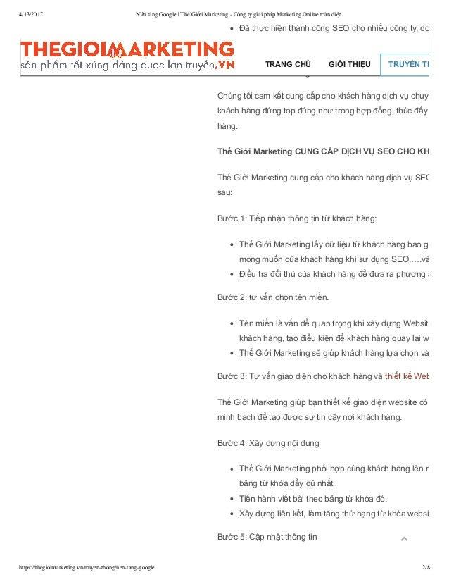 4/13/2017 Nền tảng Google   Thế Giới Marketing - Công ty giải pháp Marketing Online toàn diện https://thegioimarketing.vn/...