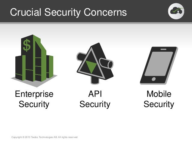 Crucial Security ConcernsCopyright © 2013 Twobo Technologies AB. All rights reservedEnterpriseSecurityAPISecurityMobileSec...